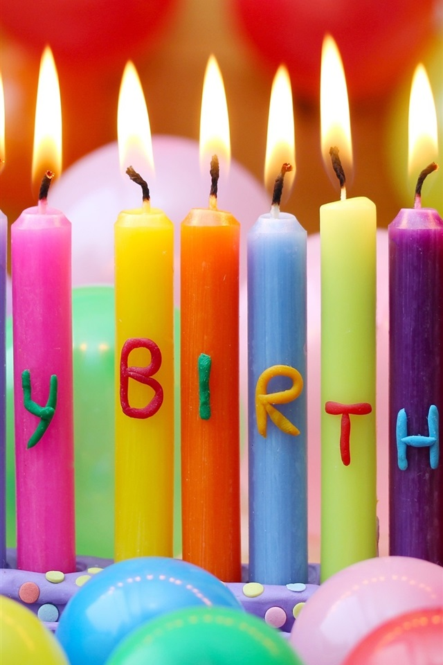 Wallpaper Happy Birthday Colorful Candles Balloons