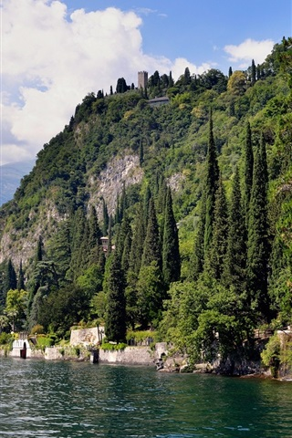 iPhone Wallpaper Italy, Como, lake, mountains, trees, houses
