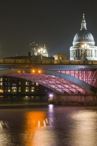 iPhone Wallpaper London, river Thames, bridge, cathedral, night, lights