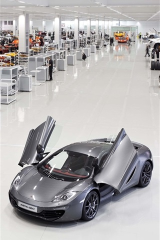 iPhone Wallpaper McLaren MP4-12C white and gray supercars