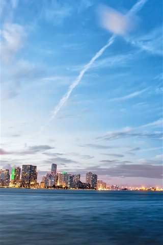 Fonds Décran Miami Floride Etats Unis La Mer Le Soir