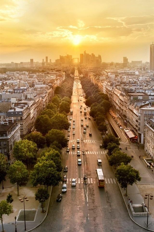 Fonds D écran Paris France Panorama De La Ville Le Soir