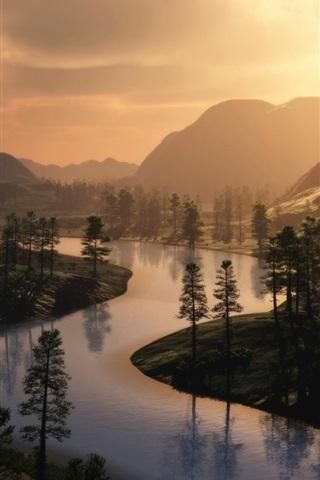 iPhone Wallpaper River, morning, fog, trees, sunrise