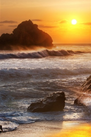 iPhone Wallpaper Sea, stones, waves, sunrise, dawn