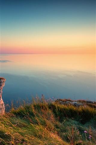 iPhone Wallpaper Sunset, cliffs, sea, coast, Etretat, France