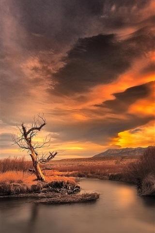 iPhone Wallpaper Sunset, dusk, mountain, river, nature scenery
