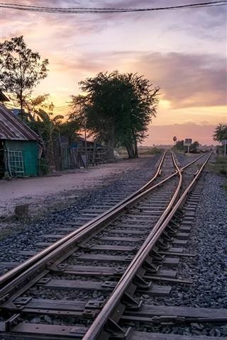 Village Railway House Dusk Cambodia 640x1136 Iphone 5 5s