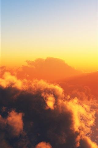 iPhone Wallpaper Warm sky, clouds, sun, sunset