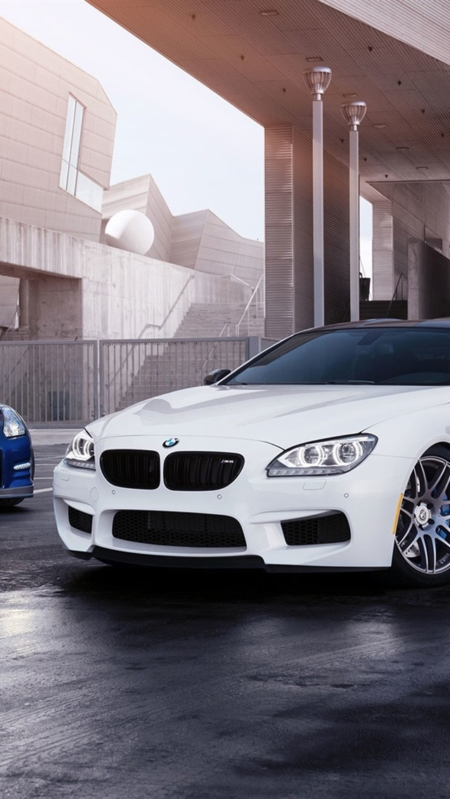 White Bmw M6 And Blue Nissan Gt R Cars 640x1136 Iphone 5 5s