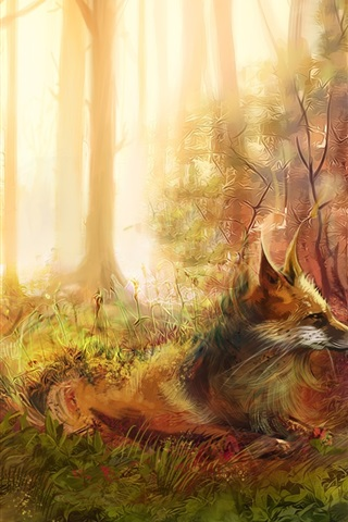 iPhone Wallpaper Art painting, fox, forest, trees, grass, rocks