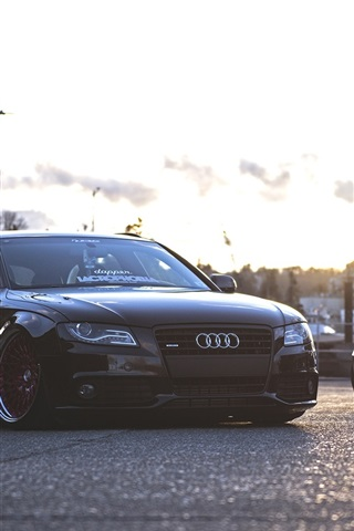 iPhone Wallpaper Audi A4 and BMW cars