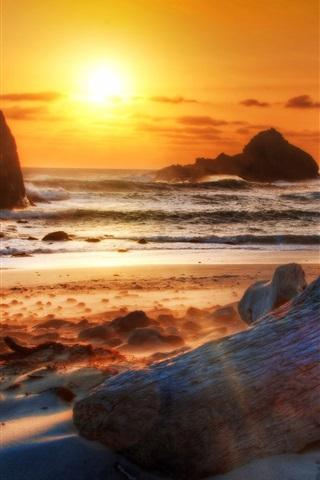 iPhone Wallpaper Beach, coast, sea, mountains, rocks, sunset