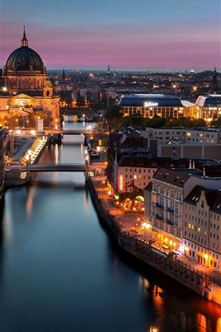 iPhone Wallpaper Berlin, Germany, city, night, lights, buildings, river
