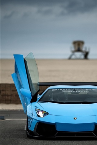 Blue Lamborghini Aventador Supercar Doors Opened 640x1136 Iphone 5