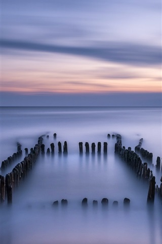 iPhone Wallpaper Germany, North sea, calm, evening, dusk