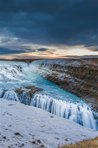 iPhone Wallpaper Iceland, river, sky, clouds, sunset, waterfall