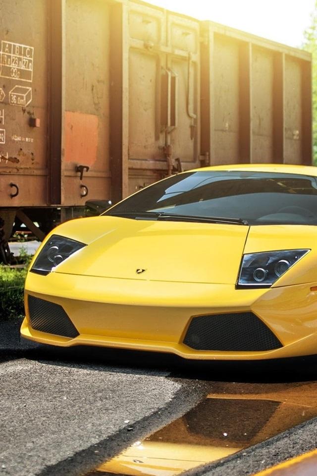 Wallpaper Lamborghini Murcielago Lp640 4 Yellow Supercar Train