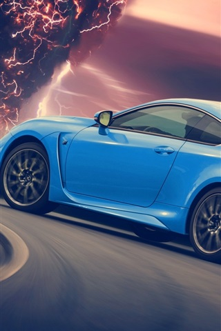 iPhone Wallpaper Lexus RC-F blue supercar