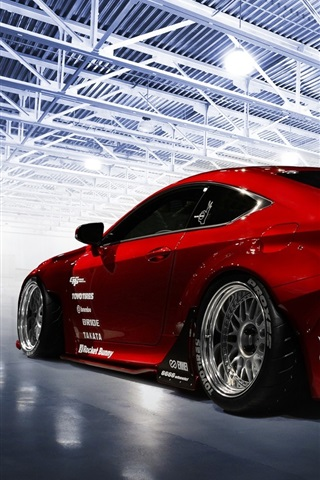 Lexus Rc F Red Sport Car Back View 640x960 Iphone 4 4s Wallpaper Background Picture Image
