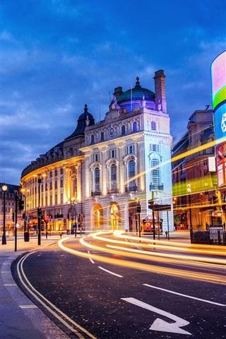 iPhone Wallpaper London, England, city, street, building, lights, evening