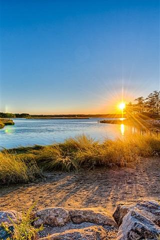 iPhone Wallpaper Long Island, New York, USA, sunset, river, trees, grass, house