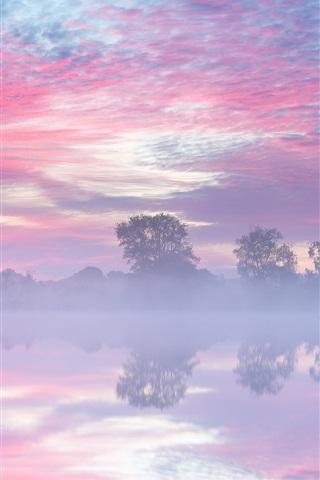 iPhone Wallpaper Netherlands, autumn, lake, morning, fog