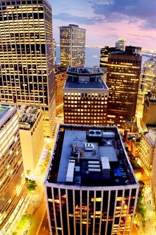 iPhone Wallpaper New York City, Manhattan, USA, city, night, buildings, lights