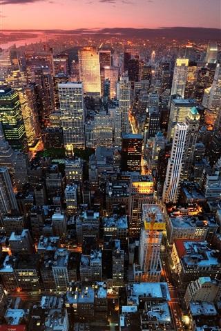 iPhone Wallpaper New York City, Manhattan, USA, night, sunset, skyscrapers, lights