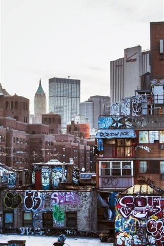 iPhone Wallpaper New York, USA, city, skyscrapers, graffiti, houses, buildings, dusk
