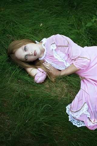 iPhone Wallpaper Pink dress girl, sleep, sadness, loneliness
