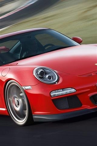 iPhone Wallpaper Porsche 911 GT3 997 red supercar