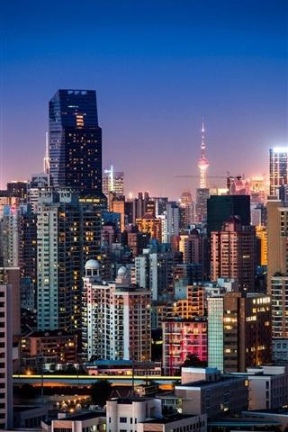 iPhone Wallpaper Shanghai, China, night city, buildings, skyscrapers, lights