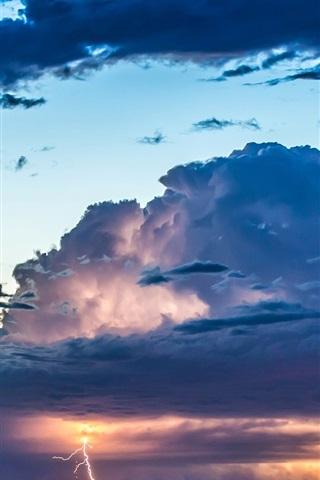 iPhone Wallpaper Sky, clouds, glow, sunset, thunder, lightning