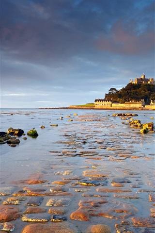 iPhone Wallpaper St Michael's Mount, Cornwall, England, sunrise, water