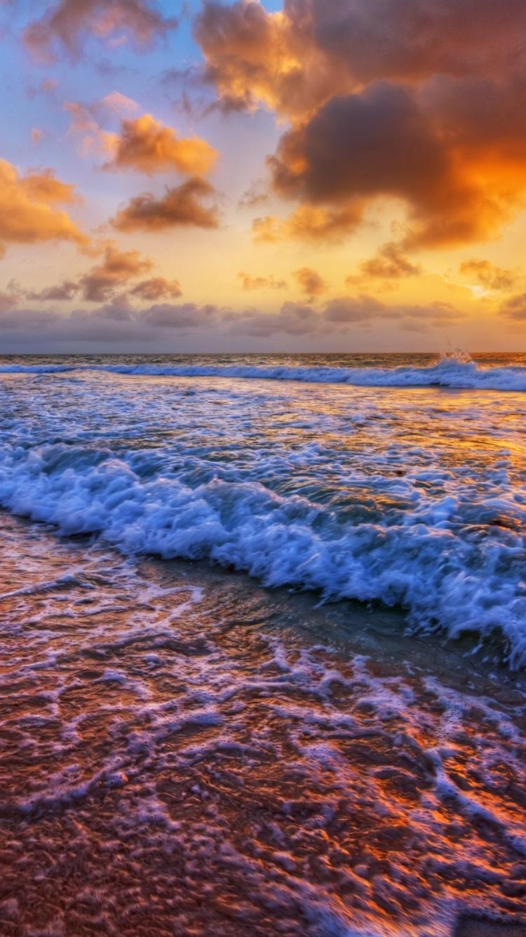 サンセット 海 海岸 サーフ 波 雲 750x1334 Iphone 8 7 6 6s 壁紙
