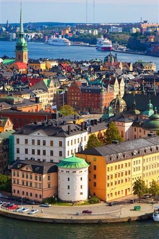 iPhone Wallpaper Sweden, Stockholm, city, dock, buildings, boats
