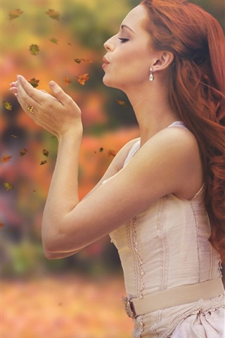 iPhone Wallpaper Autumn, leaves, red hair girl