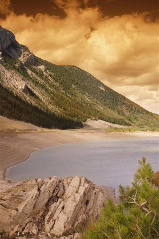 iPhone Wallpaper Beach, sea, coast, stones, trees, sunset