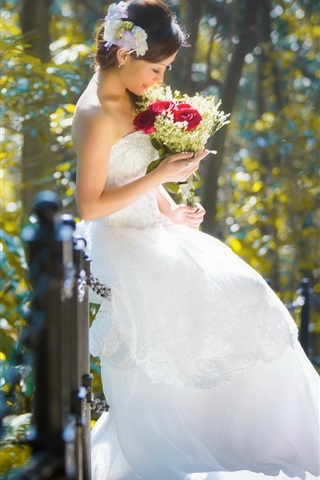iPhone Wallpaper Beautiful bride, girl, asian, flowers