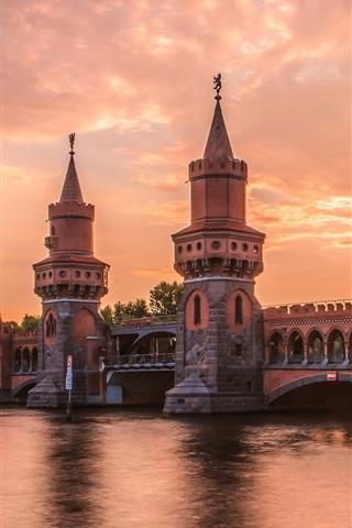 iPhone Wallpaper Berlin, Germany, river, bridge, evening, sunset