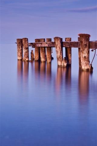 iPhone Wallpaper Canada, Ontario, lake, dock, water, blue