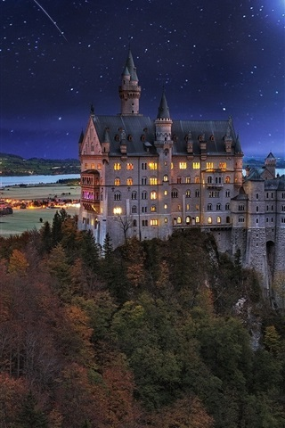 iPhone Wallpaper Castle, Germany, night, lights, moon, trees