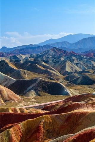 iPhone Wallpaper China, Zhangye Danxia, mountains