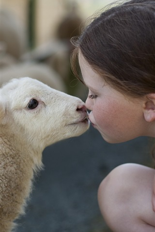 iPhone Wallpaper Cute little girl, sheep, friendship