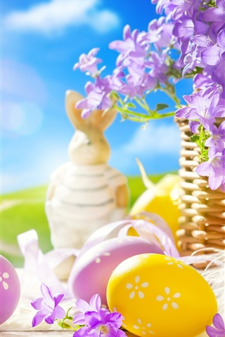 iPhone Wallpaper Easter, spring, eggs, Bunny, flowers