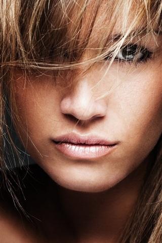iPhone Wallpaper Fashion girl, face, eyes, hair