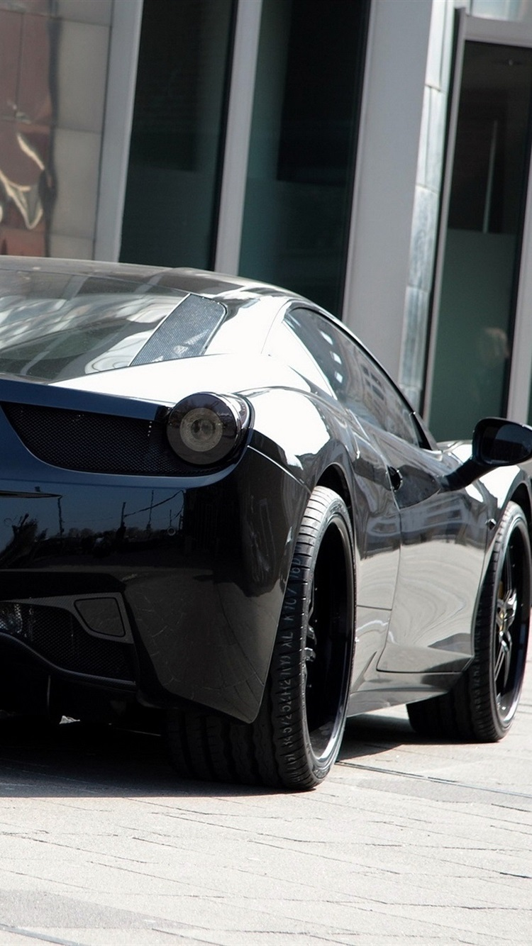 Ferrari 458 Italia Black Car Back View 750x1334 Iphone 8 7 6 6s Wallpaper Background Picture Image