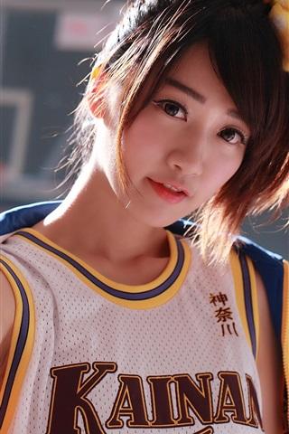 iPhone Wallpaper Japanese girl, basketball, sports uniform