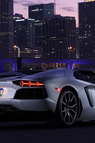 iPhone Wallpaper Lamborghini Aventador LP700-4 supercar, city, night