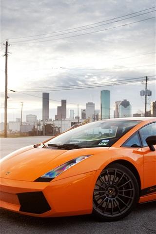 iPhone Wallpaper Lamborghini Gallardo orange supercar, city, sun, glare